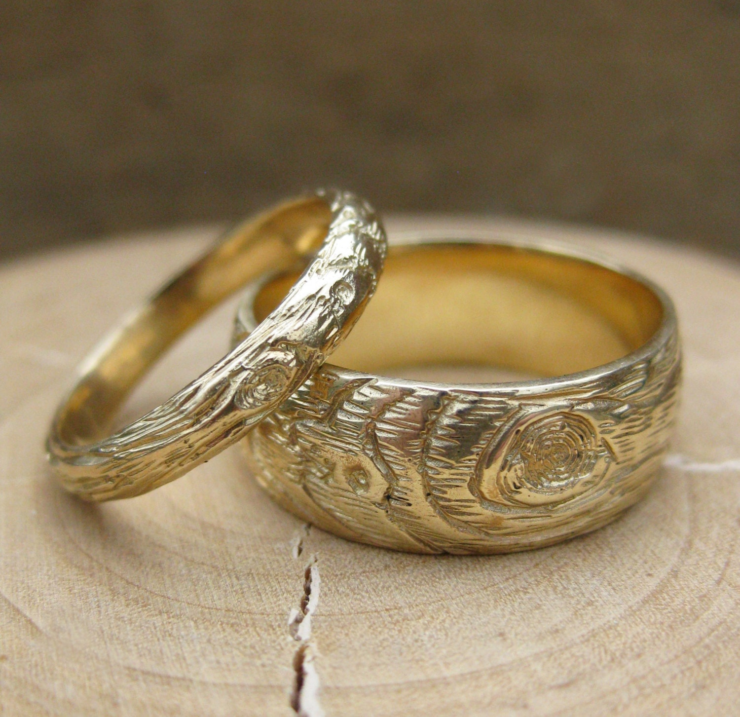 Woodgrain Wedding Band Set Gold Wood Grain Ring Plywood 14 Kt