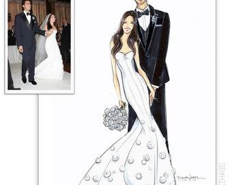 Custom Couple Fashion Illustration. Wedding Gift. Custom Fashion Sketch. Custom Newlywed Gift. Engagement Gift. Brooklit. Brooke Hagel.