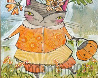 halloween kitty cat - watercolor,  8 x 10 limited edition and archival print by cori dantini