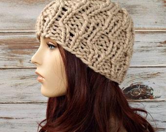 Linen Cream Cable Beanie Womens Hat Mens Hat - Amsterdam Cable Beanie Cream Knit Hat - Cream Hat Cream Beanie Womens Accessories Winter Hat