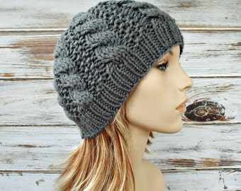 Instant Download Knitting Pattern - Cable Hat Pattern - Knit Hat Pattern for Edison Cable Beanie Pattern - Womens Hat Pattern