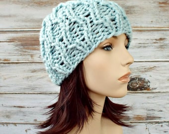 Knit Hat Blue Womens Hat - Amsterdam Cable Beanie in Glacier Pale Blue Knit Hat - Blue Hat Blue Beanie Womens Accessories Winter Hat