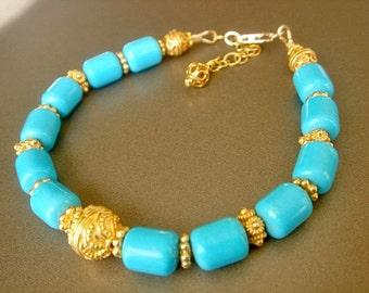 Turquoise Bracelet Gold Vermeil Bracelet Layering Bracelet Beaded Bracelet