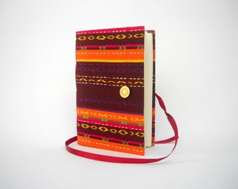 Handmade Journal notebook diary lined journal Brown orange fabric journal A5 size Writing journal travel journal, colorful embroidery agenda