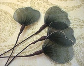 Vintage Millinery BLACK Tipped Mesh Leaves on Stems lot of 12 for Corsages, Craft Fairy Wings