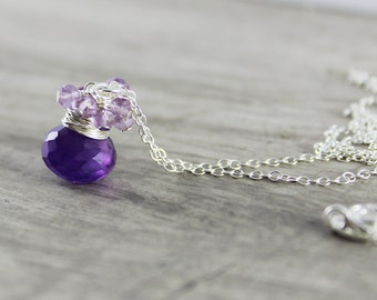 Purple Simple Necklace, Sterling Silver Necklace, Amethyst Gemstone Necklace, February Birthstone, Birthstone Jewelry, Pendant Drop Necklace