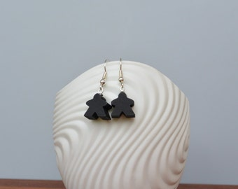Black mini Carcassonne meeple earrings with nickel-free silverplated earwires