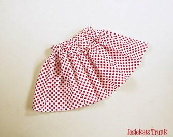 Red Polka Dot Skirt Twirl Girl Tween Junior Retro 4 5 6/6X 7/8 10 12 14 16