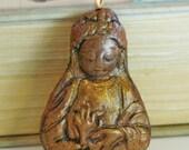 Golden Brown Prajna Paramita Buddhist Goddess Pendant
