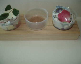 Supplies - Wooden Organizer for Mosaic Pieces - 3 Plastic cup Storage -Tray Organizer - Wooden Organizer-