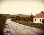 White Cottage, Country Road, Co. Kerry, IRELAND Picture,Rainy Day Photo, Foggy IRISH Countryside,Mountain HOUSE, Rural Landscape Photography