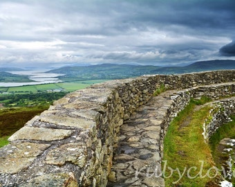 Grianan of Aileach, Ringfort, Co. DONEGAL, Inishowen, Gaelic, IRELAND, Ancient Stone Wall, National Monument, Circle Fort Structure, O'Neill