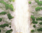 "Bear art, waterfall art, blank greeting card - ""Bear Necessities"""