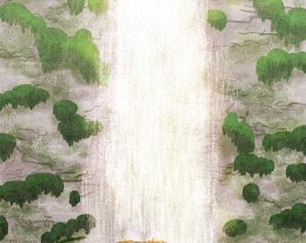 "Happy birthday card, bear art, waterfall art - ""Bear Necessities"""