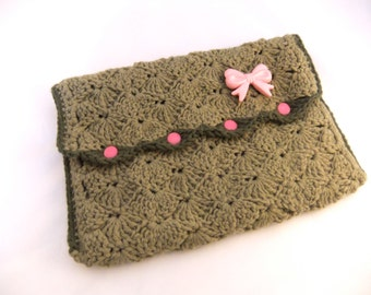 Khaki bow crochet clutch bag