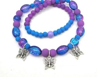 Butterfly Necklace, Kids Jewelry, Kids Jewellery, Girls Necklace, Butterfly Jewelry, Purple Necklace, Charm, Teen Tween Teen Girls Jewelry