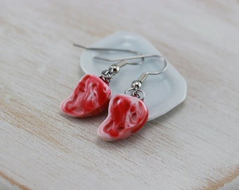 Raw Steak Earrings