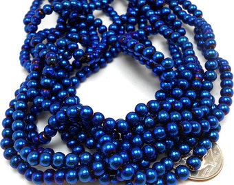 80 Metallic Blue Glass Beads 5mm (H1645)