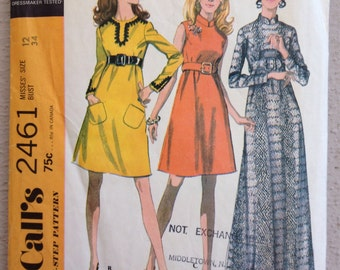 1970's Empire waist Maxi dress Vintage Pattern McCall's 2461