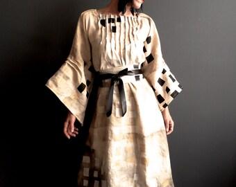 From Her to Eternity - iheartfink Handmade Hand Printed Womens Retro Futuristic Bohemian Wedding Wearable Art Linen Kimono Dress
