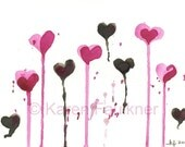 "Watercolor Valentine hearts print: ""Chocolate Raspberry Drizzle"""