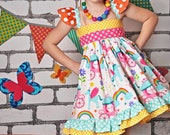 Girls Rainbow Dress- Girls Unicorn Dress- Girls Rainbow Unicorn Dress