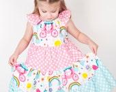 Girls Rainbow Unicorn Dress- Girls Unicorn Rainbow Dress- Girls Rainbow Dress