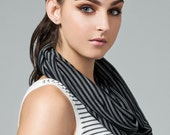 Striped Infinity scarf in eco friendly bamboo jersey