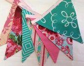 Dark Pink and Aqua Shabby Chic Flag Bunting Banner Featuring 7 Large Fabric Flags. Garland Bunting, Photo Prop, Decoration.