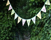 Just Married, Bunting Flag Banner, Wedding Decoration, Photo Prop. As Shown, Ready To Ship. Pastel Shabby Chic Colors, Bride's Decor.