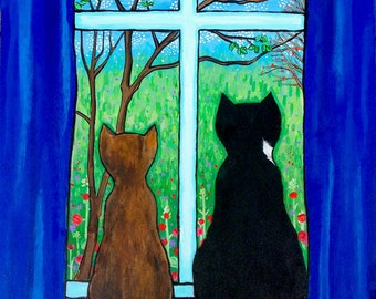 Blue Window Cats Tortie Tuxedo Print Shelagh Duffett