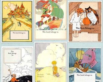 Vintage Bookplates - Little Boys - Assorted BLANK Book Plates, Ex Libris, Baby Shower