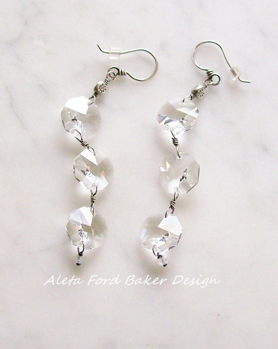 Crystal Chandelier Earrings Antique Sparkly Faceted Drops Sterling Silver Bridal Jewelry