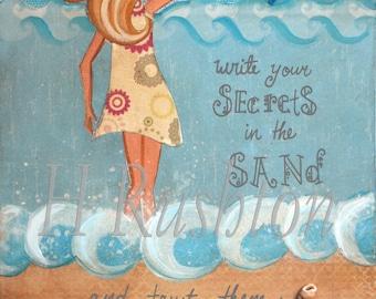 Beach Art, Beach Decor, Ocean Art, Mermaid Quote, Coastal  Decor, Kids Wall Art, Print Sizes 8x10 and 5x7 by HRushton