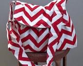 Valentine's Day Gift - Red Chevron Messenger Bag - 3 Slip Pockets - Key Fob - Adjustable Strap