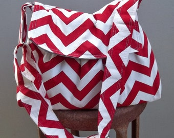 Valentine's Day Gift - Red Chevron Messenger Bag - 3 Slip Pockets - Key Fob - Adjustable Strap