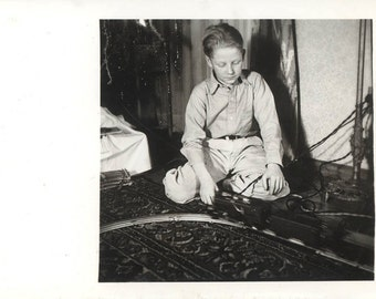 vintage photo REd Hair Freckle Boy Plays with Train Set on the Rug