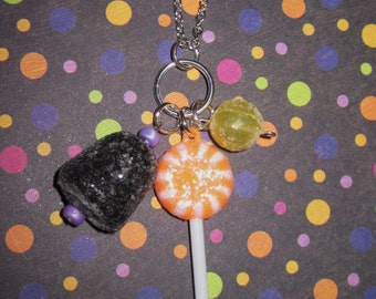 Halloween Candy Necklace Halloween Candy Jewelry Multi Charm Cluster Lollipop Gumdrop Silver Chain Fun Cute Free Shipping to US or Canada
