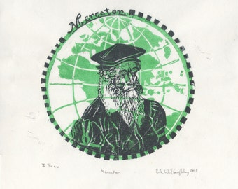 Mercator the Map Maker Linocut - History of Science, Cartography, Geography, Lino Block Print Portrait with Map of Gerardus Mercator
