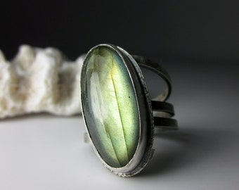 Tangled Statement Ring gold green yellow labradorite in sterling silver wide band modern organic