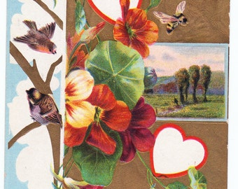 Vintage 1909 Valentine Post Card - Beautiful Branches and Trees with Textured Gold Foil
