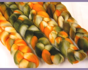 100% Merino Top Roving for Hand Spinners, Pumpkin Patch, Fall colored wool
