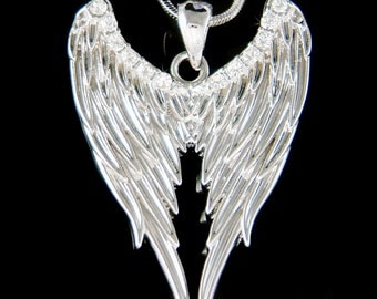 Swarovski Crystal Gothic ANGEL WING Wings Guardian HOLLYWOOD celebrity fairy Pendant Charm Goth Necklace Jewelry Best Friend Christmas Gift