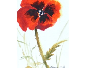 Poppy Painting Watercolor, Love Poppies, Red Flower Painting, Small Format Art (SFA), Poppy Art, Niche or Powder Room