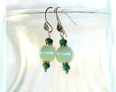 Aventurine Turquoise Earrings ~  Green Earrings ~ Chakra Earrings - E0902-09