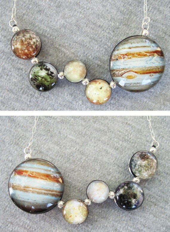 Wiggly Jupiter and Galilean Moons Double by LostInSpaceJewelry