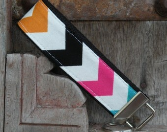 Wrist Key Chain--Wristlet--Key Chain--Rainbow Chevron on Black