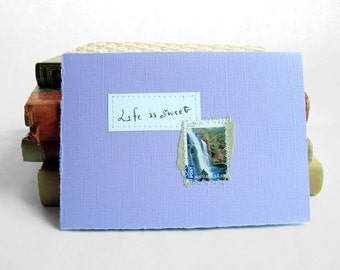 Life is sweet Lilac card with handwritten quote and Australian postal stamp Mackenzie Falls