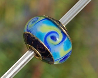 Just Beachy - Capped & Cored Dan O Lampwork Bead for european style add a bead chains