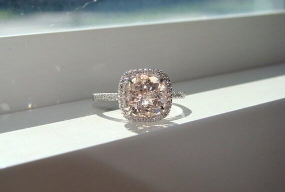 Large Halo Peach Morganite Diamond Ring Gemstone Engagement